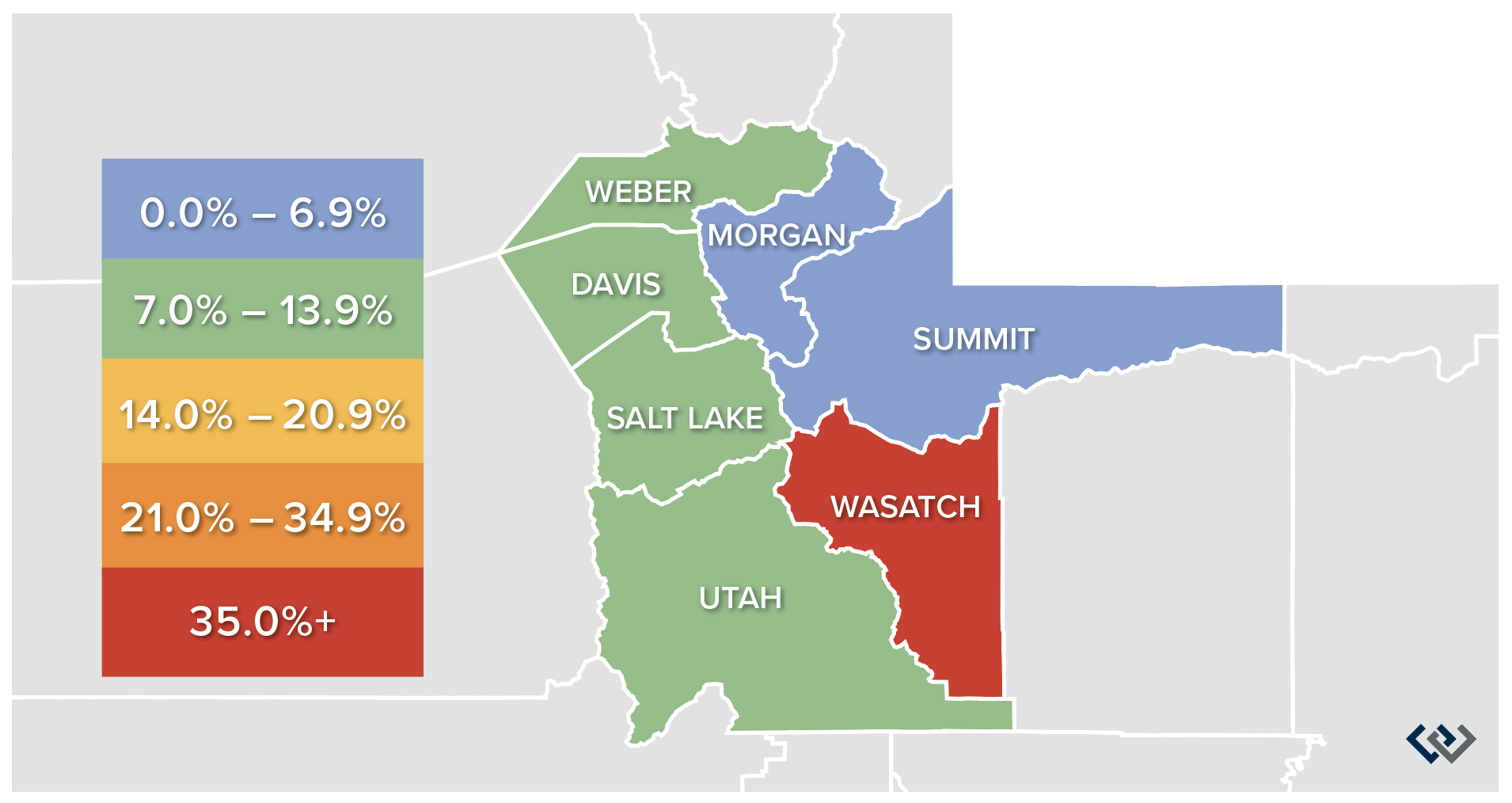 Windermere-Gardner-Report-Utah-Market-Trends-Annual-Change-Home-Sale-Prices-Quarter-1-2020-Map